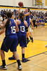 Danville's Alyssa Bauer (#15), Allison Becker (#13) and Allie Boyer (#23)