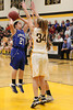 Danville's Kinsey Petersen (#21) and Central Lee's Jessica Reu (#34)