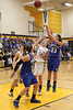 Danville's Allison Becker (#13), Allie Boyer (#23) and Central Lee's Hayley Edwards (#32), Josey Kirchner (#22) and Britany Mathison (#30)