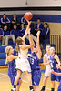 Danville's Carlee Kelly (#3), Allison Becker (#13), Madonna Stuflick (#15) and Holy Trinity's Allison Sporkman (#31) and Kirsten Shaffer (#20)