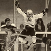 Todd Arrigon, center, leaps into the air as he celebrates a Johnson goal against Hill-Murray, with teammates Mark Raiola, left and Tom O'Connor, on Feb. 16, 1978. (Pioneer Press file photo)