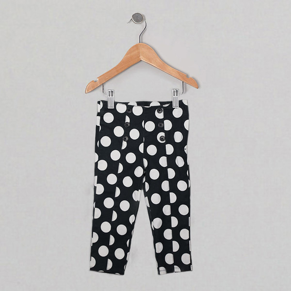 Girls black white Paris pants