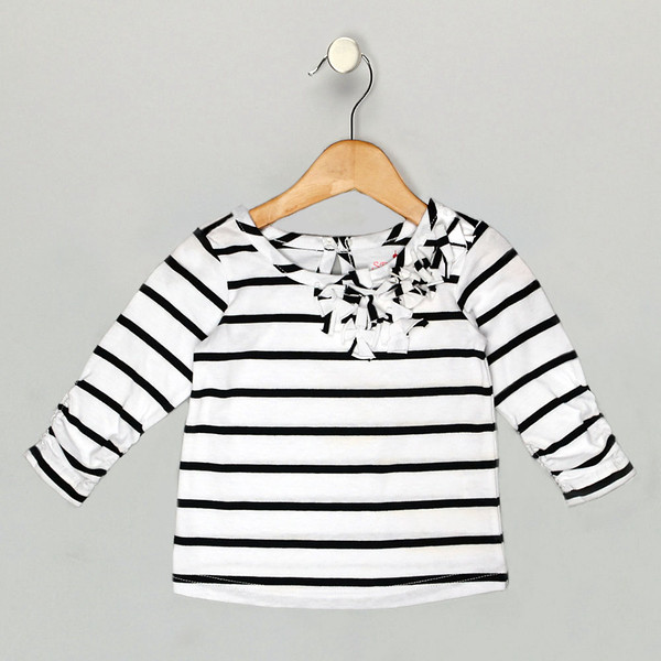 Girls black white Paris top