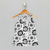 Twist Tank - Black White Tropical Print