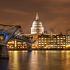 The Millennium Bridge and St Paul's Cathedral At Night