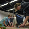 "Teens tinker with the ""MaKey MaKey"" in the EPL Makerspace.  Taken on June 17, 2014 by James Cadden."