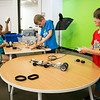 A group of children construct Lego Mindstorms robots in the EPL Makerspace.  Taken on July 16, 2014 by James Cadden.
