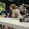 Grade 11 students, Ethan, Mitchell and Alex work together on constructing and programming a Lego Mindstorms robot in the EPL Makerspace.  Taken on July 16, 2014 by James Cadden.