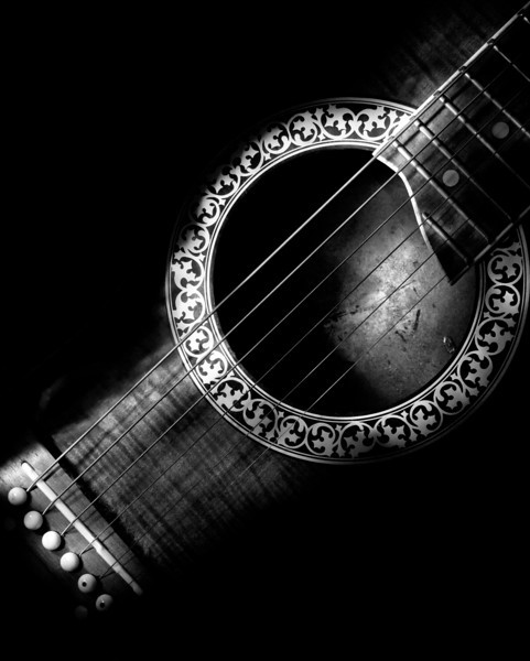 Acoustic Guitar, 1 minute exposure, painted with small LED light source.