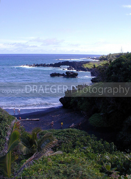 (Hawaii, Maui) Black beaches made of naturally crushed lava can be found on the east side of the island.