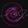 The motion of something purple spiraling or swirling on a black background.