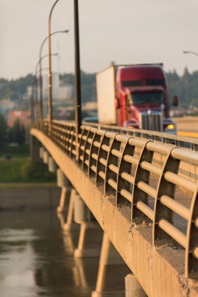Semi Truck on Bridge