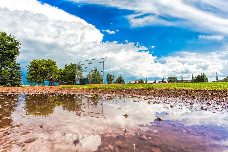 Baseball Field with Unique Sky