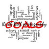 Goals Word Cloud Concept in red and black with great terms such as planning, missions, smart, set, high and more.