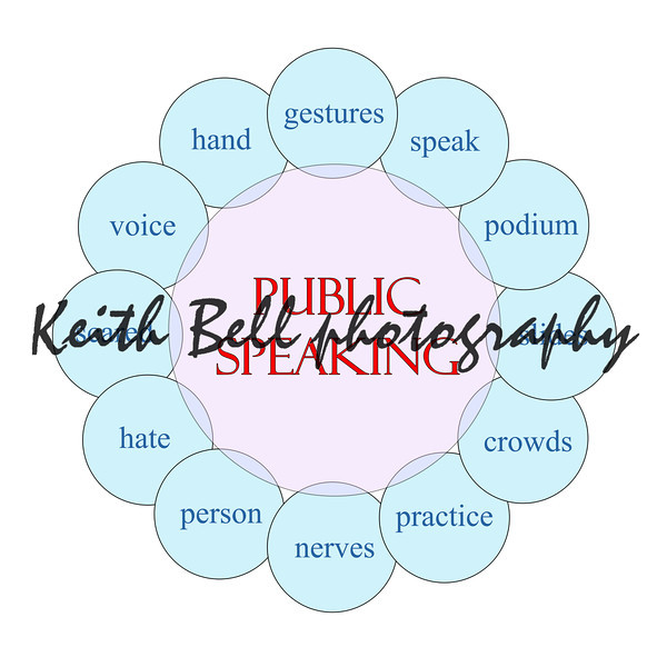 Public Speaking concept circular diagram in pink and blue with great terms such as scared, speak, voice, podium, crowds and more.
