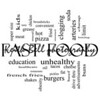 Fast Food Word Cloud Concept in black and white with great terms such as unhealthy, fat, grease, hamburger, meal and more.