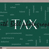 Tax Word Cloud Concept on a Blackboard with great terms such as rate, federal, state, income, codes and more.