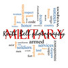 Military Word Cloud Concept with great terms such as honor, sacrifice, country, brave and more.
