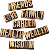 career, family, health and other values