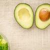 halved avocado and lettuce