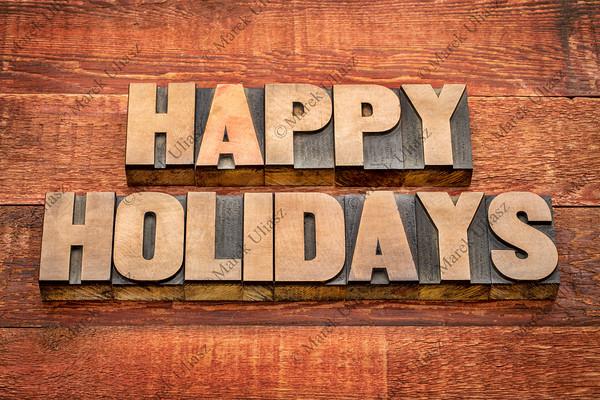 happy holidays typography