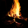 A nighttime campfire. Fire has motion blur