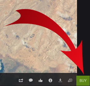 SMALL Red arrow points to buy icon