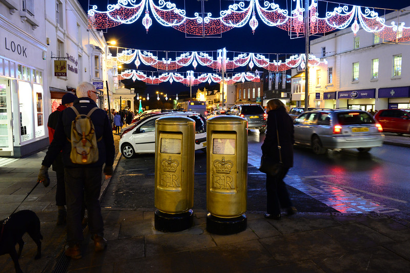 Gold mailboxes - to commemorate a local Olympic Medal winner