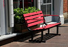 Empty Red Bench on a Manhattan street