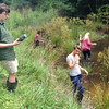 John and Kate measured dissolved oxygen levels in the water, air temp, and water temp. Lucy was trying to catch baby aquatic critters in the background so we could ID whether they were frogs or salamanders.