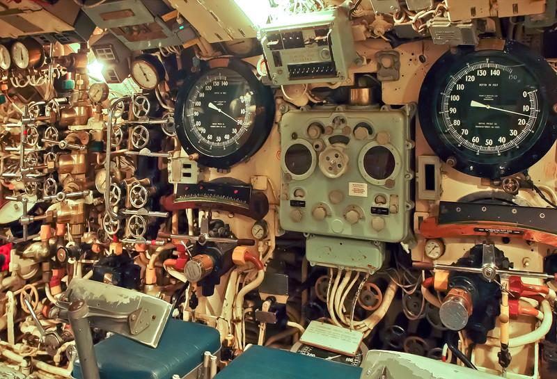 The fore and aft hydroplane operating positions in the WWII design British submarine HMS Alliance
