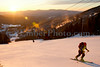 Justin Beckwith and Dan Smith (yellow vest) - Ascending Stowe Mtn Resort at sunrise - Green Mountains, Vermont, USA