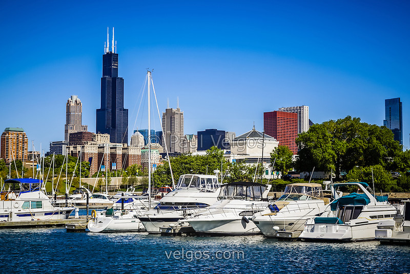 Photo of Chicago Skyline with Burnham Harbor