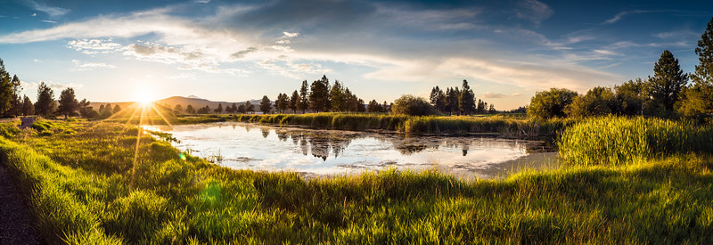 Sunriver sunset panorama