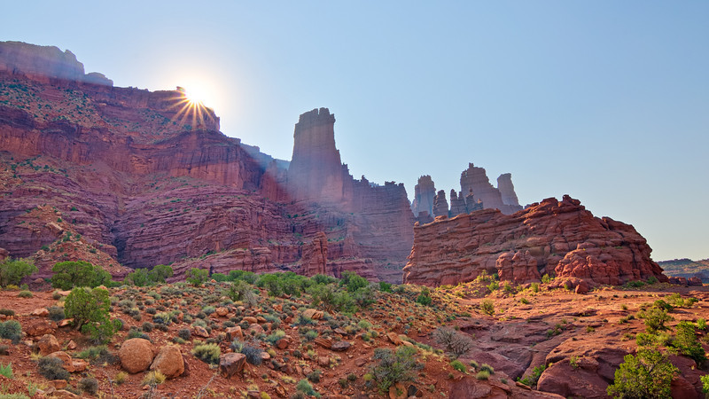 Rising Morning Star Over Fisher Towers