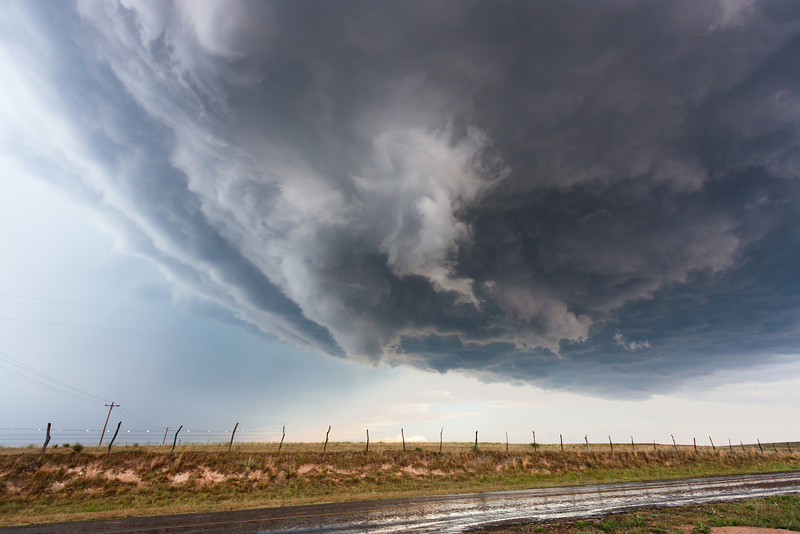 A beautiful high-based supercell provides fleeting rainfall for the parched Texas Panhandle near Darrouzett on June 11, 2011.