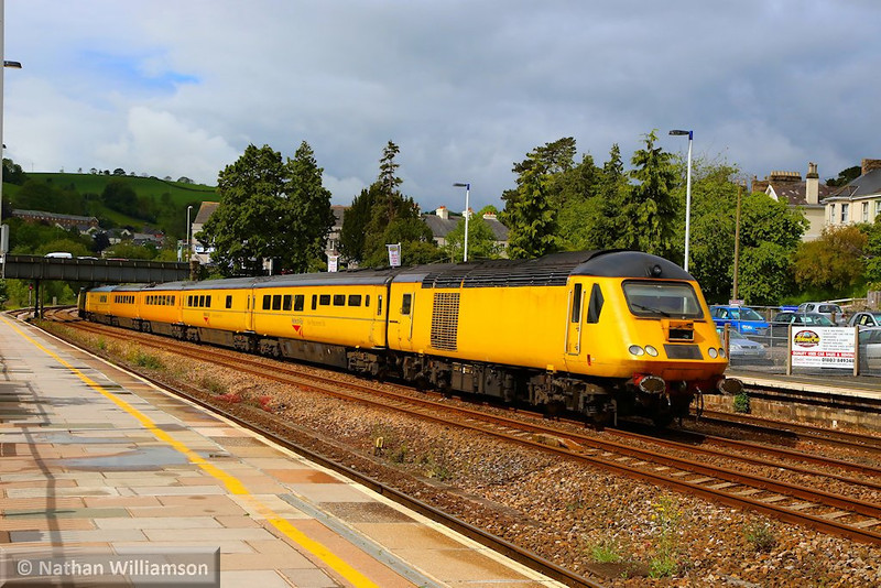 43013 heads north through Totnes on the:<br /> 1Q19 10:01 Plymouth to Paddington<br /> <br /> 23/05/14