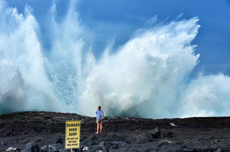 DANGER - HIGH SURF! Do Not Go Beyond this Point! Unless of course you're a crazy photographer.... Keahuolu Point, Big Island of Hawaii.