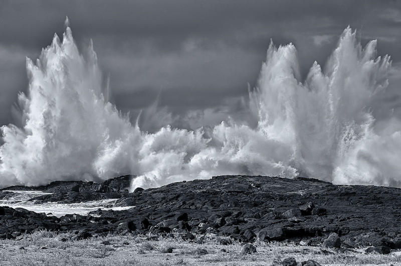 Explosive liquid impact. Keahuolu Point, Hawaii island.