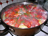 A snapshot of a casserole of Chinese freshwater crayfish, salmon steaks, coldwater shrimp and vegetables being cooked at a friend's home on 27 January 2007. <br /> File No. 270107 5853 <br /> ©RLLord<br /> fishinfo@guernsey.net
