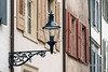 Street light on medieval building, Reinsprung, Basel, Switzerland