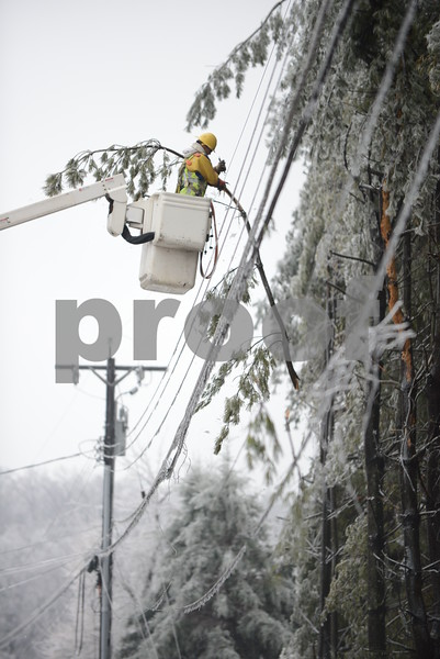 01.05.14 COCYEYSVILLE, MD- BGE workers remove tree branches form downed power lines near the intersection of Osage Road and Powers Avenue in Cockeysville, MD, after a winter storm coated most of northern Maryland in a thin layer of ice. (The Daily Record/Maximilian Franz)