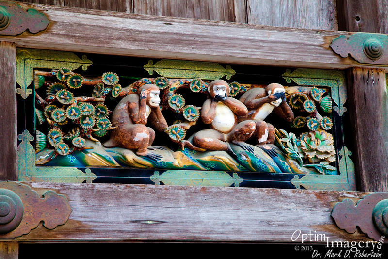 "Here is the famous one I was referring to earlier.  This is the ORIGINAL ""See no evil, speak no evil, hear no evil.""  This depiction represents childhood, since this is the behavior thought to be best for children."