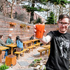 bartender with bloody mary: . backyard - bar/restaurant Sea Witch 705 5th Avenue in South Slope Brooklyn NY