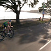 """Batman on his Batbike"" - Christian Kemp (""Kempy') on his Hi Tech Triathlon Bike in the 2014 Ironman 70.3 Auckland. Acknowledgement:  http://au.tv.yahoo.com"
