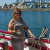 Maureen Baker on one of the tall ships.