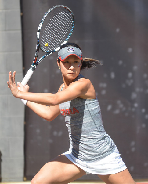 Maho Kowase during Georgia's match with South Carolina on Friday, March 14, 2014, at the Dan Magill Tennis Complex. (Photo by Steven Colquitt)
