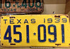 1939 Yellow Texas Tag