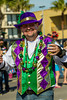 Mardi Gras revellers in the parade in Galveston, Texas, USA.