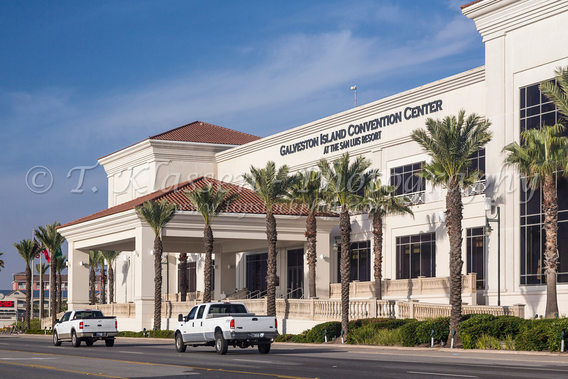 The exterior of The Galveston Convention Center on the Gulf of Mexico, Galveston, Texas, USA.